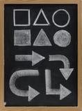Geometrical shapes and arrow  white chalk Stock Photo