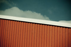 Geometrical shot of house wall on sky background Royalty Free Stock Photos