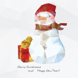 Geometrical snowman,  polygonal background. Geometrical  snowman, colorful polygonal background Royalty Free Stock Images