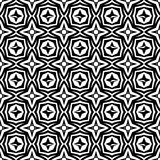 Geometrical stars flowers seamless pattern background illustration in black n white. Seamless vector background illustrations for use in web backgrounds , art Royalty Free Stock Photos