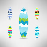 Geometrical surfboard designs set. Surfing board Royalty Free Stock Photo