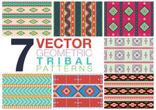 7 Geometrical Tribal Patterns. Set of 7 geometrical tribal patterns in editable vector format Royalty Free Stock Photo