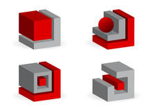 Geometrichesy figures. Four icons, geometrical figures gray and red color Stock Image