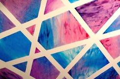 Geometrico astratto Linee bianche che attraversano i blocchetti del colorfull Immagini Stock Libere da Diritti
