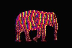 Geometrico poligonale dell'animale dell'elefante di vettore illustrazione di stock