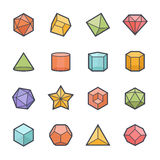 Geometrics Shape Icon Bold Stroke with Color Royalty Free Stock Image