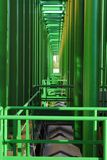 Geometries of green pipes Stock Images