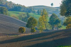 Geometries in the hills Tuscany Italy. Daytime stock photography