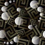 Geometrisch abstract 3d Grieks zeer belangrijk meander vector naadloos patroon Stock Illustratie