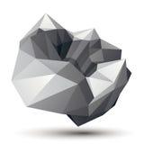 Geometrisch abstract 3D ingewikkeld voorwerp, zwart-wit asymmetrisch royalty-vrije illustratie