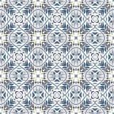 Geometrisch abstract naadloos patroon Achtergrond met de borstelslagen en vlek van de waterverfverf Caleidoscoop stock illustratie