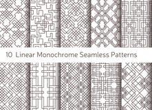 Geometrisch abstract naadloos patroon Lineaire motiefachtergrond Stock Afbeeldingen