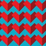 Geometrisch abstract naadloos patroon met twee schaduwen van de elementen van het rode kleurenhart op blauwe achtergrond in mozaï Stock Afbeeldingen