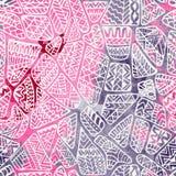 Geometrisch abstract naadloos patroon uitstekende stijl doodle Royalty-vrije Stock Afbeelding