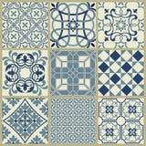 Geometrisch Azulejo de tegel vectorpatroon van Lissabon, Portugees of Spaans retro oud tegelsmoza?ek, Mediterrane naadloze marine stock illustratie