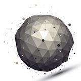 Geometrisch contrast sferisch cijfer met draadnetwerk Stock Afbeeldingen