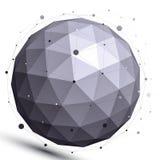 Geometrisch contrast sferisch cijfer met draadnetwerk Royalty-vrije Stock Foto's
