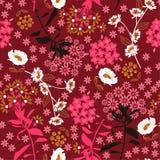 Geometrisch dicht bloeiend bloem en blad in donker, kleurrijk m royalty-vrije stock afbeelding