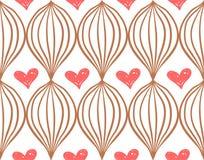 Geometrisch eenvoudig sketh getrokken hand naadloos patroon met rode harten Voor behang, Webachtergrond, textiel, het verpakken stock illustratie