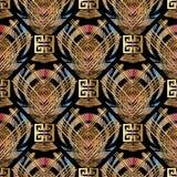 Geometrisch gestreept 3d meander naadloos patroon royalty-vrije illustratie
