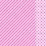 Geometrisch gestreept patroon met witte ononderbroken lijnen met geruit tussenvoegsel op roze achtergrond Vector royalty-vrije illustratie