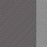 Geometrisch gestreept patroon met zwarte ononderbroken lijnen met geruit tussenvoegsel op witte achtergrond Vector stock illustratie