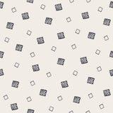 Geometrisch hand getrokken naadloos patroon met vierkanten Royalty-vrije Stock Afbeelding