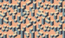 Geometrisch kleurrijk 3D effect optisch vierkant stadspatroon stock illustratie