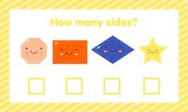 Geometrisch logisch onderwijsspel voor kinderen van kleuterschool en schoolleeftijd Hoeveel kanten stock illustratie