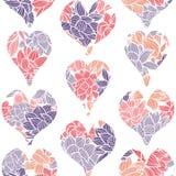 Geometrisch naadloos die patroon van harten met een kleurrijk bloemenpatroon van waterlilies wordt opgesmukt vector illustratie