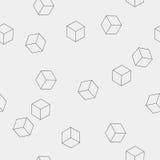 Geometrisch naadloos eenvoudig zwart-wit minimalistic patroon van kubusvormen Royalty-vrije Stock Foto
