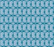 Geometrisch naadloos het herhalen blauw patroon met hexagon vormen in blauw en hand getrokken textuur vector illustratie