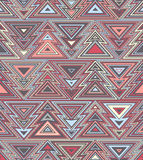 Geometrisch naadloos het herhalen patroon Kerstboom, overzichts lineaire stijl Stock Foto
