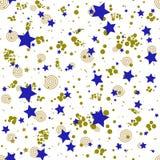 Geometrisch naadloos patroon in de abstracte stijl van Memphis, gouden cirkels, sterren, spiralen royalty-vrije illustratie