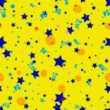 Geometrisch naadloos patroon in de abstracte stijl van Memphis, gouden cirkels, sterren, spiralen vector illustratie