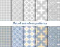 Geometrisch naadloos patroon Grijs, blauw, geel Royalty-vrije Illustratie
