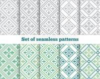 Geometrisch naadloos patroon Grijs, groen, tegel Stock Illustratie