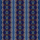 Geometrisch naadloos patroon met strepen, riemen, ketting en vlecht Vectorflard voor stof stock illustratie