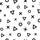 Geometrisch naadloos patroon met zwarte driehoeken, kruisen en cirkels Vector illustratie royalty-vrije illustratie
