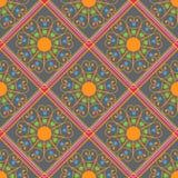 Geometrisch naadloos patroon, rode ruit op een grijze achtergrond Stock Foto's