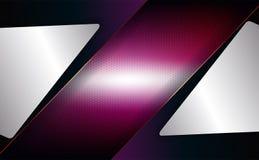 Geometrisch ontwerp in purple, roze met een metaaltraliewerk en met witte kaders stock illustratie