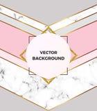 Geometrisch ontwerpaffiche met goud, room, grijs, achtergrond van de pastelkleur de roze en marmeren textuur Malplaatje voor uitn stock illustratie