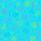 Geometrisch patroon die uit lijnen en vormen op turkoois bestaan Stock Fotografie