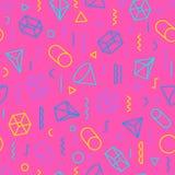 Geometrisch patroon die uit vormen en lijnen op roze backgro bestaan Royalty-vrije Stock Afbeeldingen