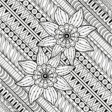 Geometrisch patroon met gestileerde bloemen Etnische achtergrond Stock Afbeeldingen