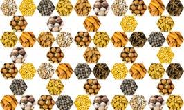 Geometrisch patroon van gevouwen pictogrammen van veelzijdige die notenkruiden in een hexagonale reeks op een witte achtergrondme royalty-vrije stock foto's