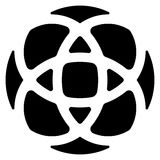 Geometrisch rondschrijven - symmetrisch element, symbool voor emblemen stock illustratie