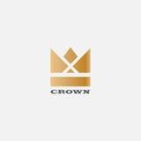 Geometrisch Uitstekend het ontwerp vectormalplaatje van het Kroon abstract Embleem Uitstekend van het symboollogotype van Kroonlo Royalty-vrije Stock Foto