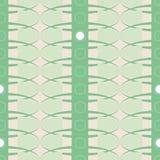 Geometrisch vector naadloos vectorpatroon met strepen, ovalen en cirkels in koele munt groene kleur stock illustratie