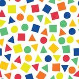 Geometrisch vormen hand-drawn vector naadloos patroon Verspreide vierkanten, driehoeken, en cirkels in blauw, oranje, rood, groen vector illustratie
